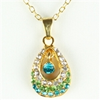 Gold teardrop pendant with green rhinestones