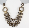 Multi layer brown and gold circles necklace